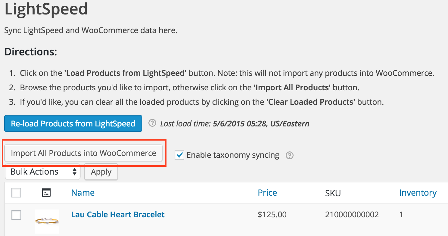 Importing products from Lightspeed into WooCommerce
