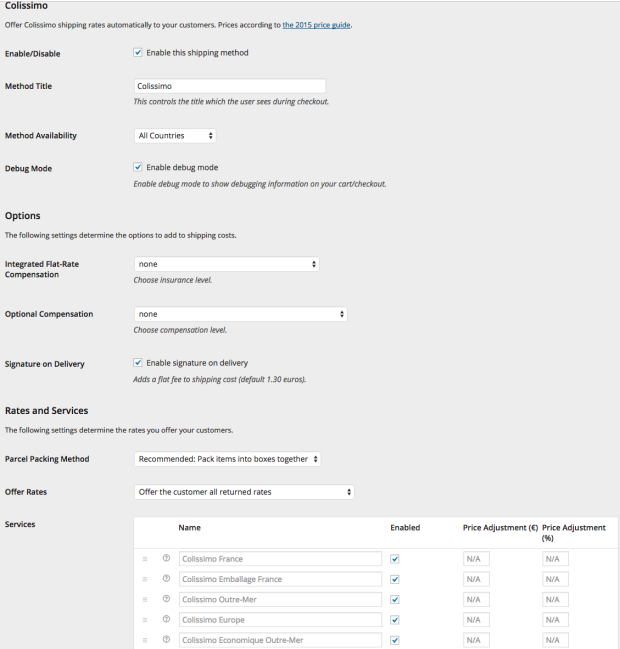 The settings screen for the WooCommerce Colissimo shipping rates integration.