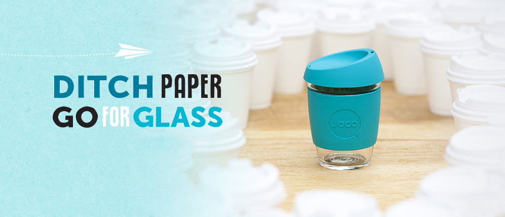 JOCO Cups urge you to ditch paper and styrofoam coffee cups in favor of reusable, sustainable glass.