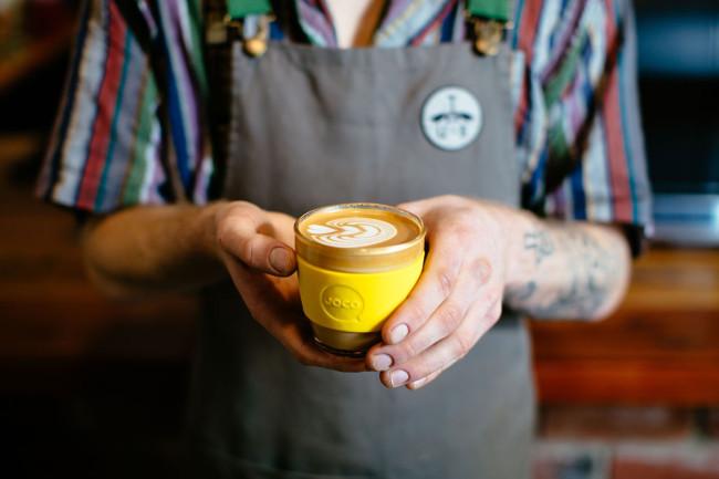 A barista holding JOCO, brilliant!