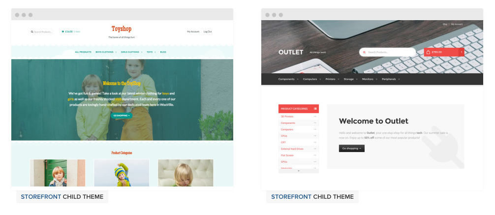 Well continue to produce Storefront child themes, like the newly released ToyShop and Outlet, moving forward.