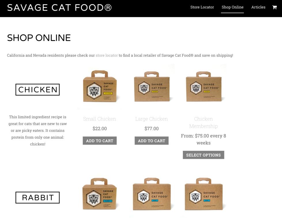 Savage Cat Food WooCommerce