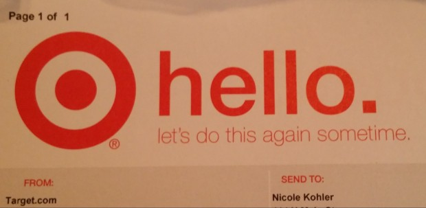 Targets packing slip is perfectly on-brand, which makes the experience feel a bit more personal.