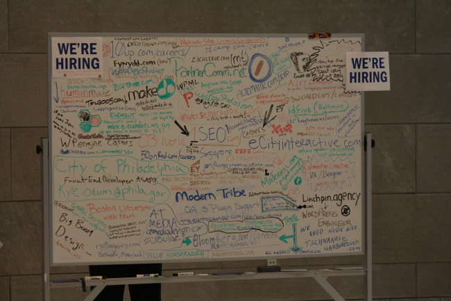 The job board at WCUS -- just one of many you'll see at WordCamps all across the world. (credittt)