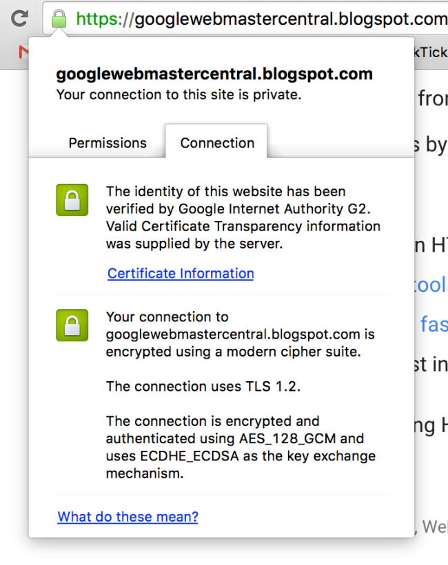 An example of the kind of information you can see when reviewing a SSL certificate -- in this case, Google's Webmaster Central blog.