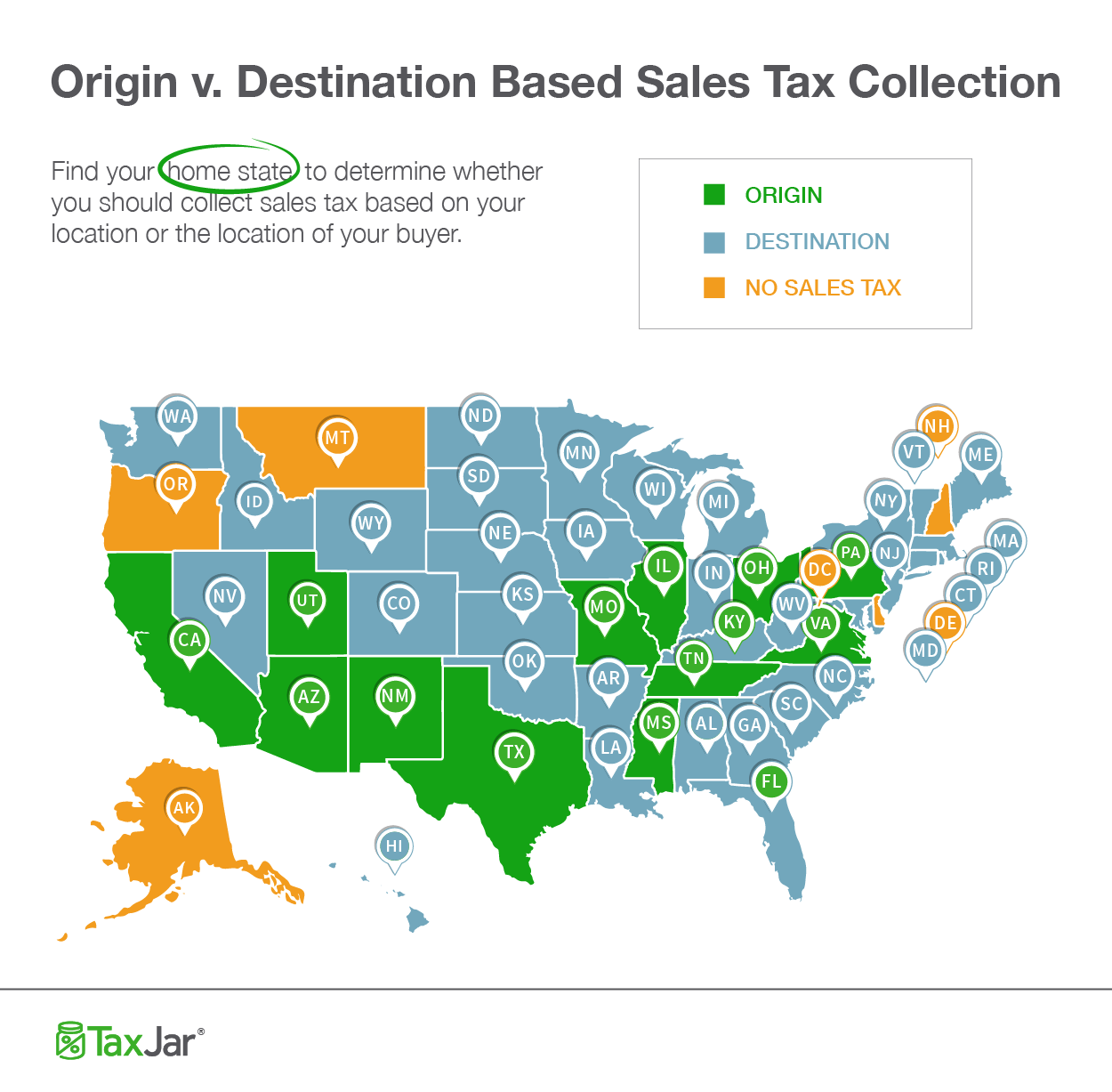 A map showing which states ask for origin vs. destination-based tax charges.