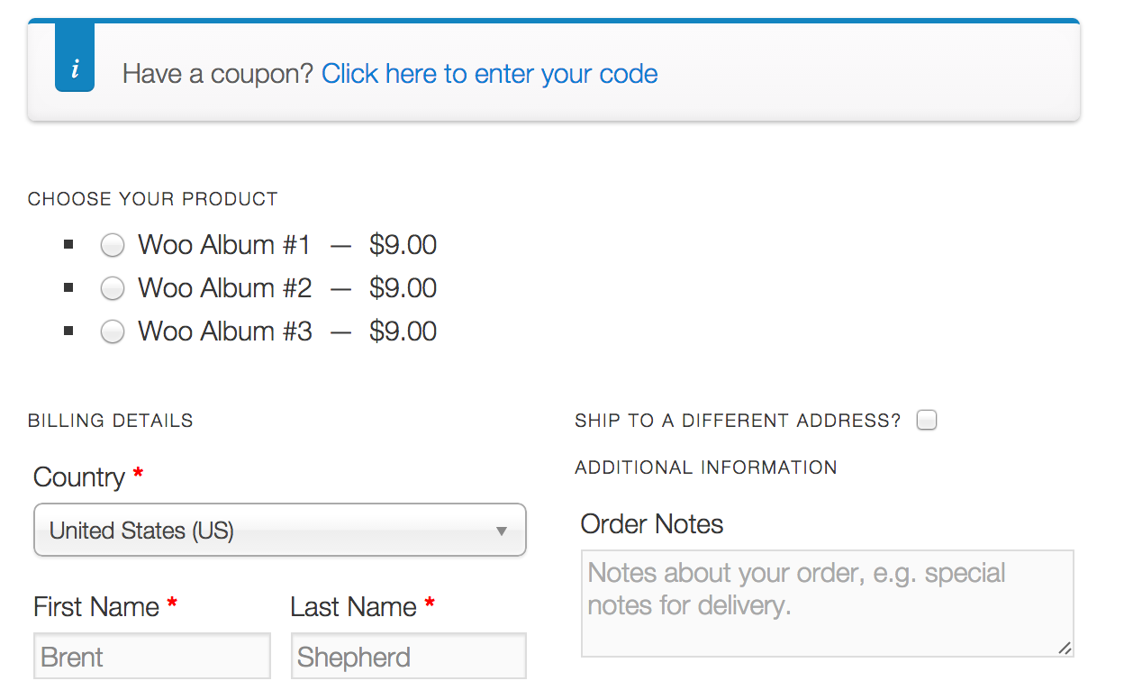 One Page Checkout in action with some demo data.