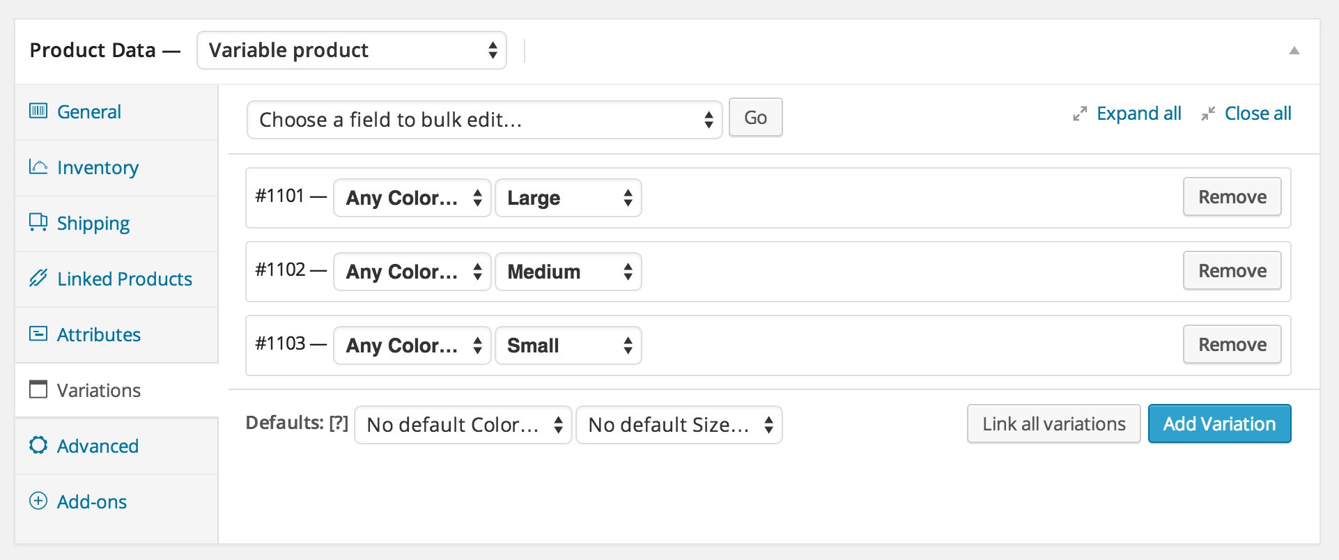Variables added to products will appear as options on the One Page Checkout page.