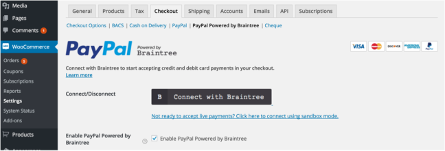 PayPal powered by BrainTree onboarding