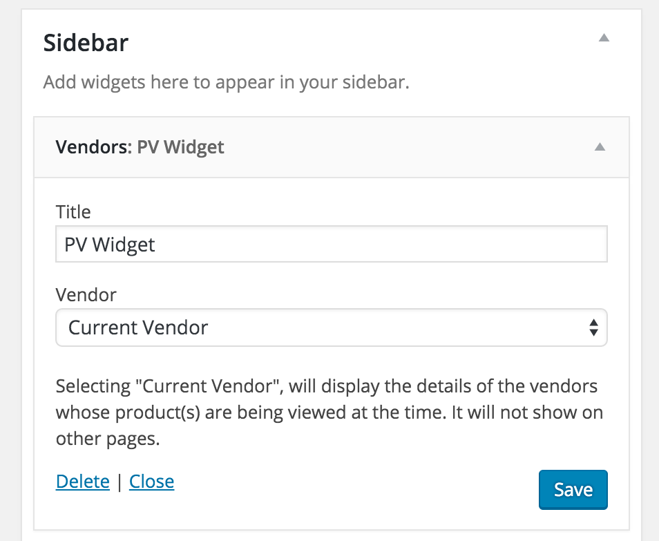 Display information about the current vendor -- or a featured one -- with this widget.