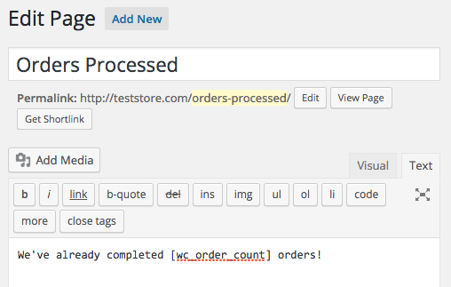 Add this custom shortcode (with help from SkyVerge) to show your shoppers just how many orders you've fulfilled.