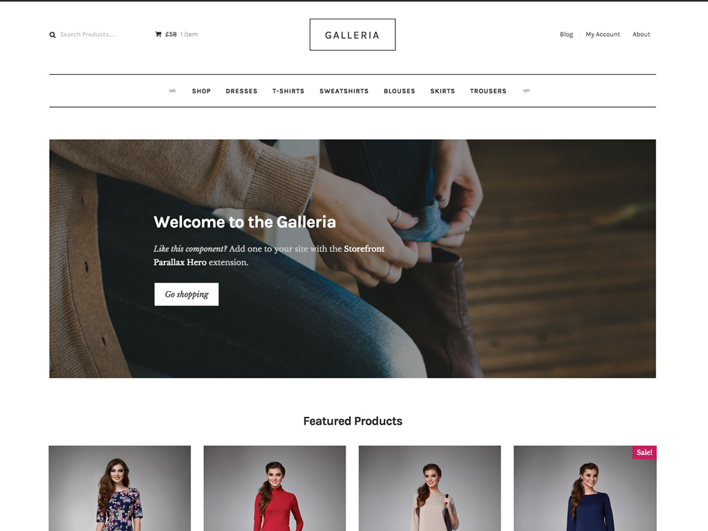 The Galleria child theme for Storefront is a clean, beautiful way to style your store quickly.