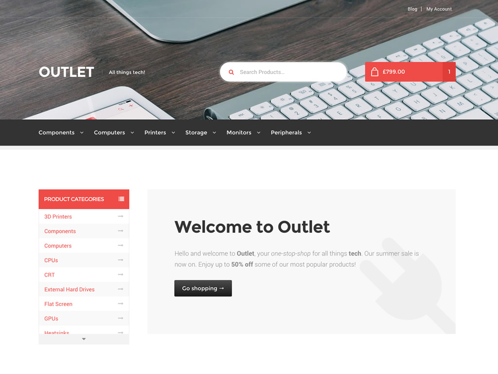 Outlet sports a clean design, tabbed interface, and mobile-friendly menus.