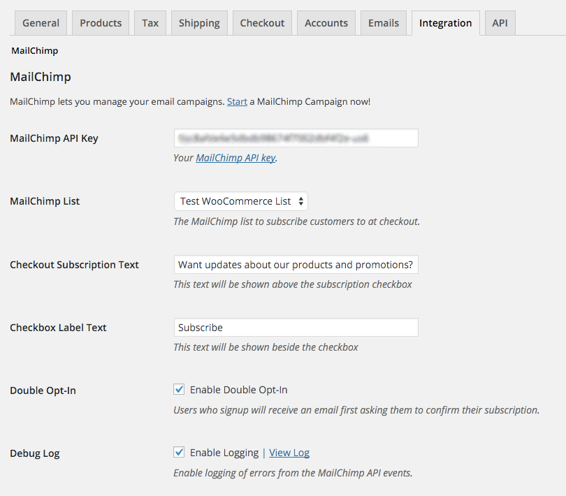 Once you've entered your MailChimp API key, choose which email list to subscribe your customers to.
