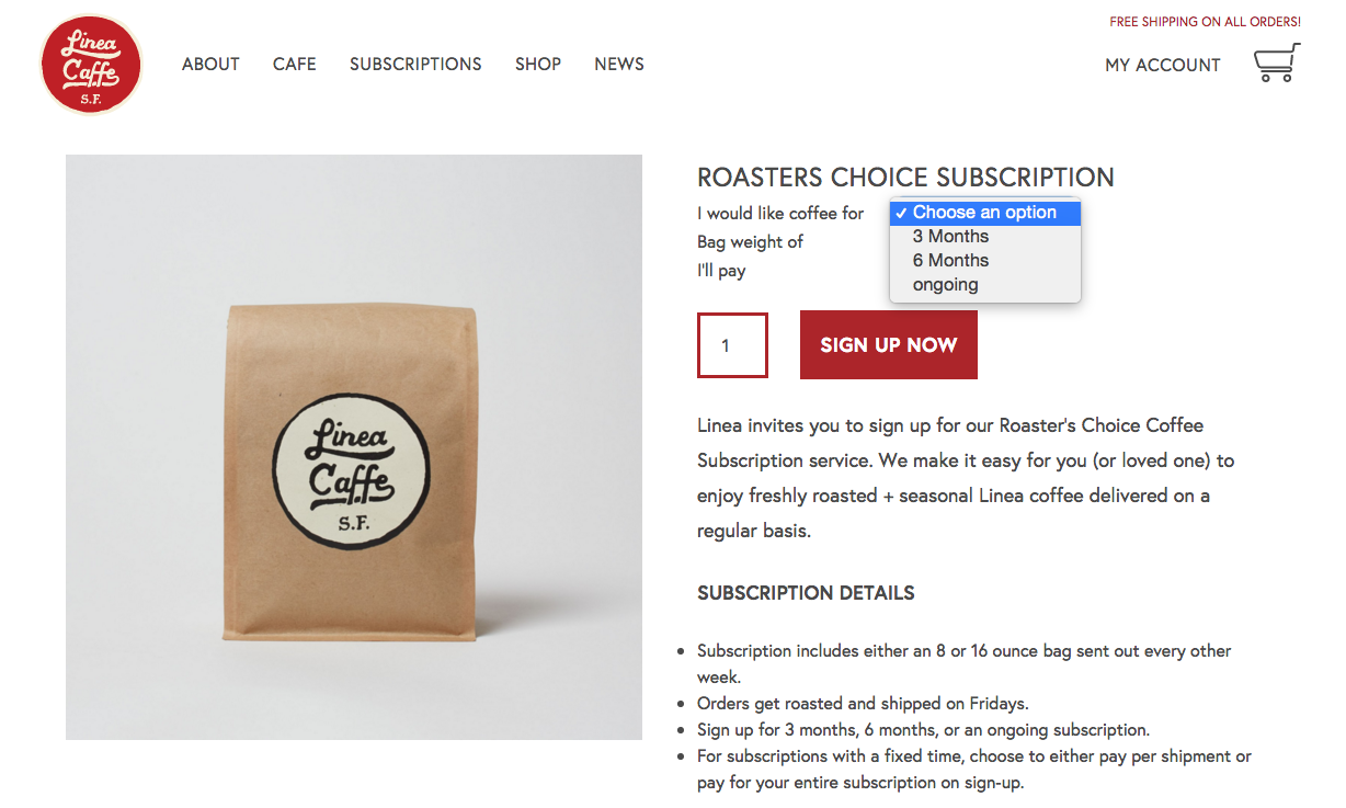 Linea Caffe subscription page