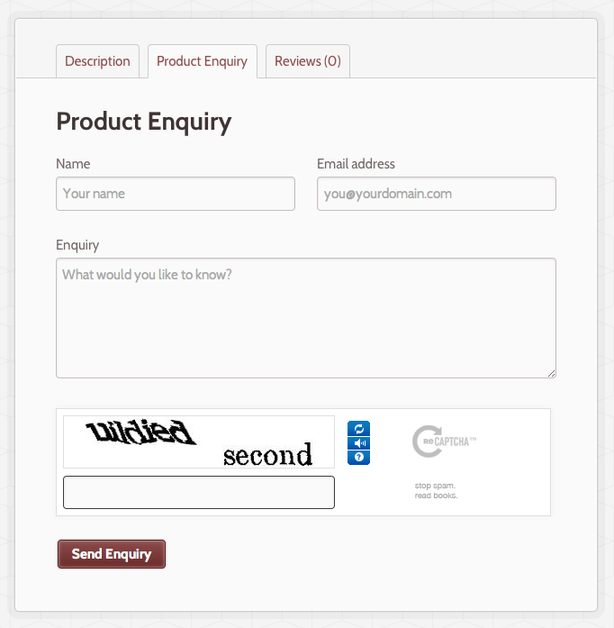 What a sample form might look like on a product page. CAPTCHA is built in to help prevent spam, woo!