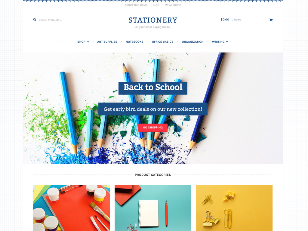 ... Theme Designed For Stores Selling Office Supplies And/or Arts U0026 Crafts.  The Design Has Subtle Tactile Decorations While Also Being Clean And  Elegant.