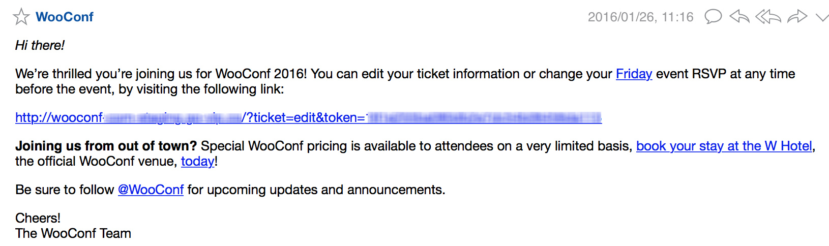 Ticket email caption