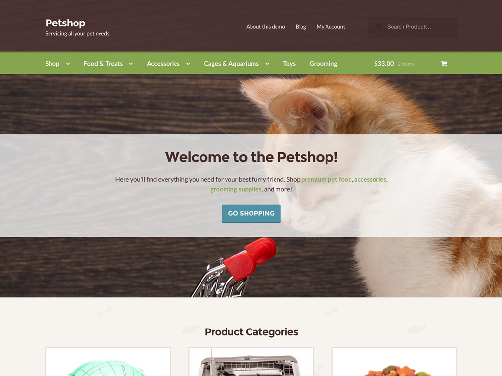 Petshop, one of our newer child themes, makes any WooCommerce store ready for pet supply shoppers in an instant.