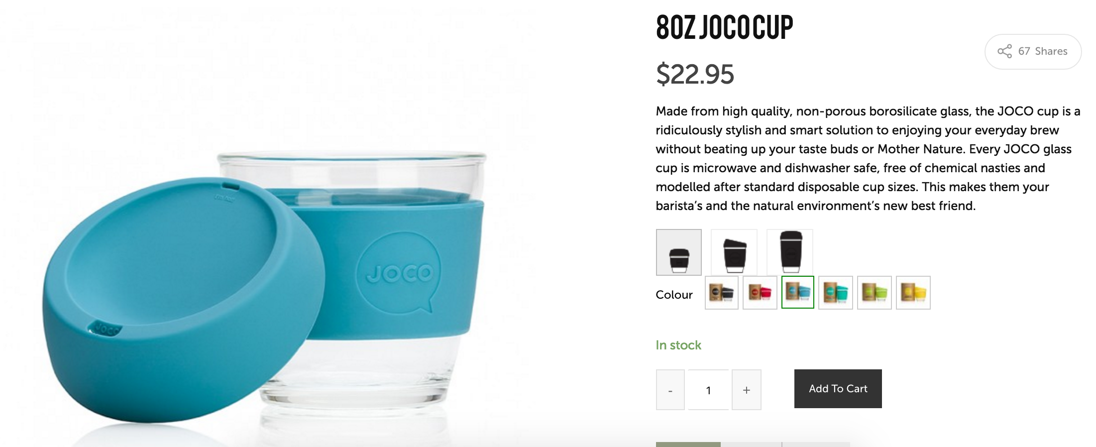 How the swatches look in the wild, in this case being used to sell JOCOs resusable glass coffee cups.