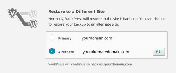 Once the option has been set up, VaultPress will allow you to restore your backups to an alternate domain, giving you the flexibility to use a separate site for testing purposes with as close to live data as possible.