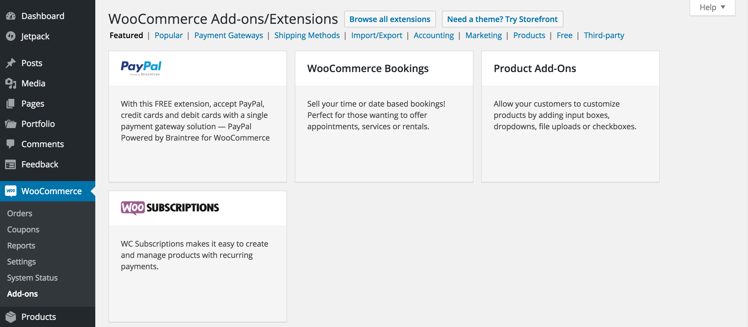 Add these payment gateways and others from the WooCommerce Add-Ons screen.