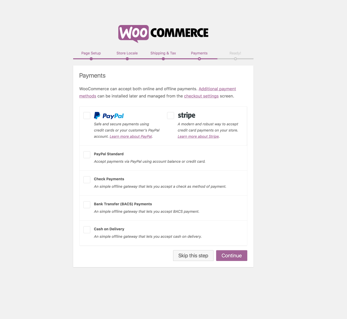 New payment options are now presented in the WooCommerce onboarding wizard.