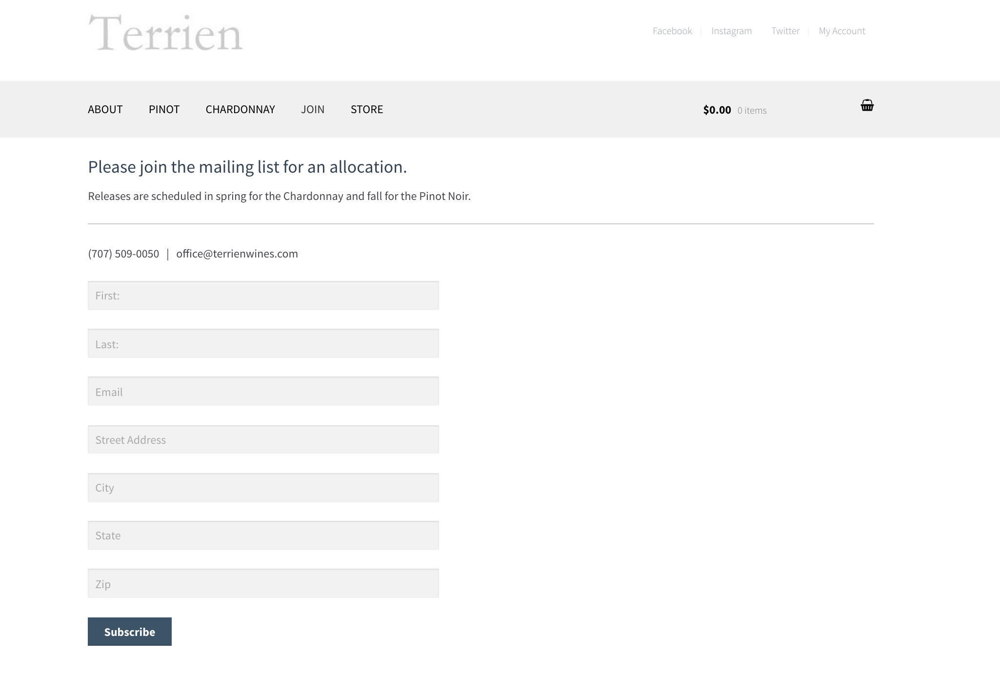To get access to Terrien wines you need to sign up to the mailing list