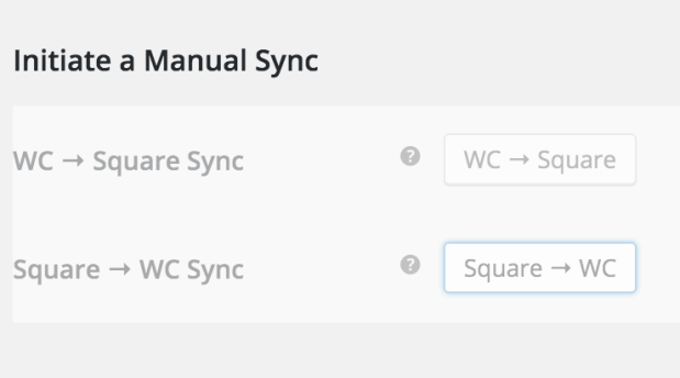 A Manual Sync will sync any changes in products from Square to WooCommerce, or from WooCommerce to Square (depending on which button you click).