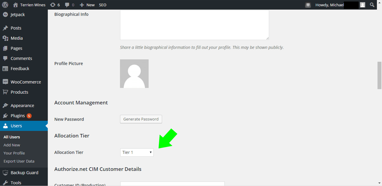 View tier in customer profile