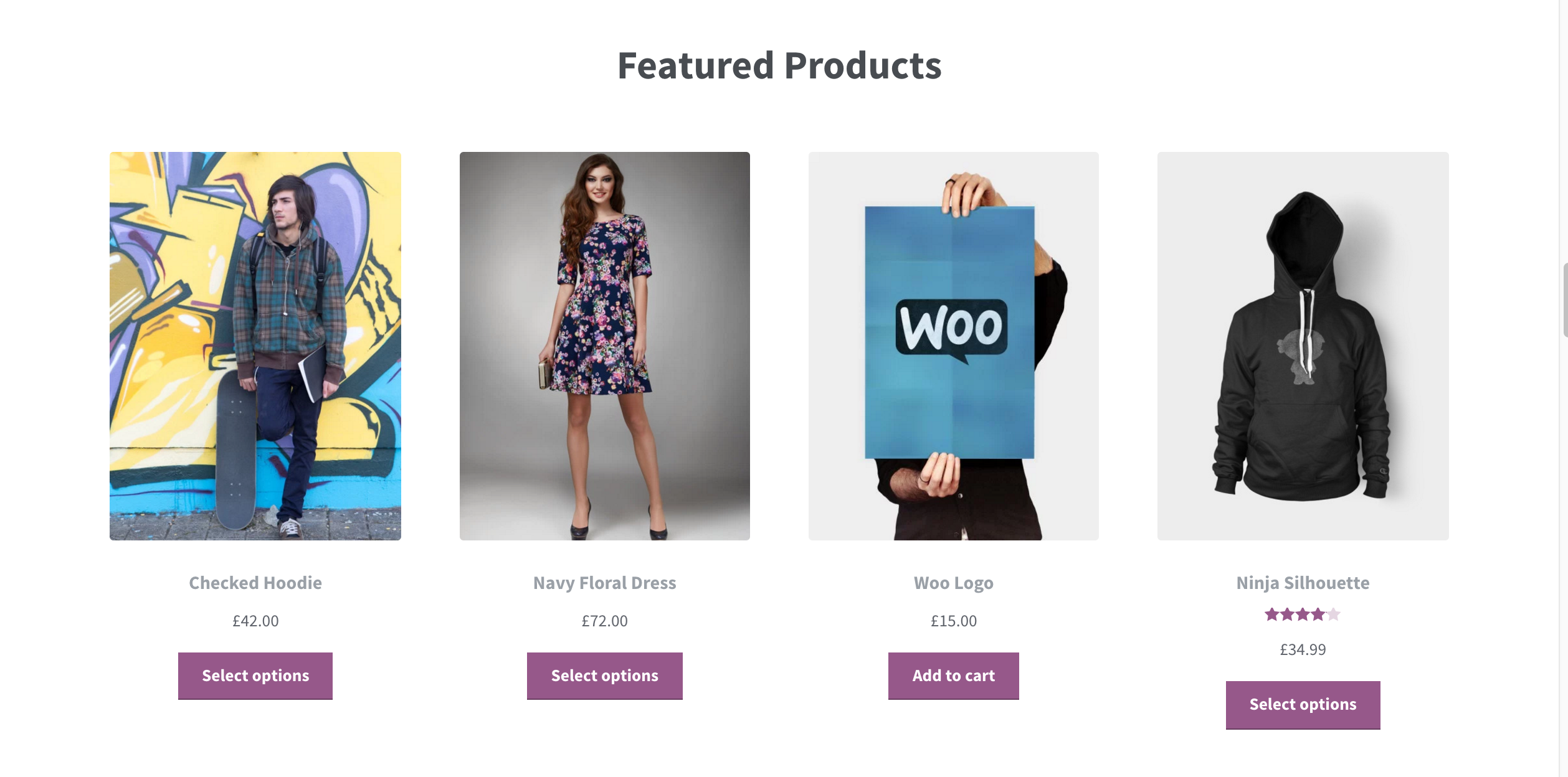 Featured products have their own section in this case, allowing them to be highlighted on the homepage.