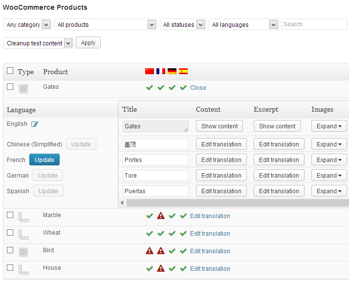 A peek at WPML and WooCommerce joined together, translating text for a product page.