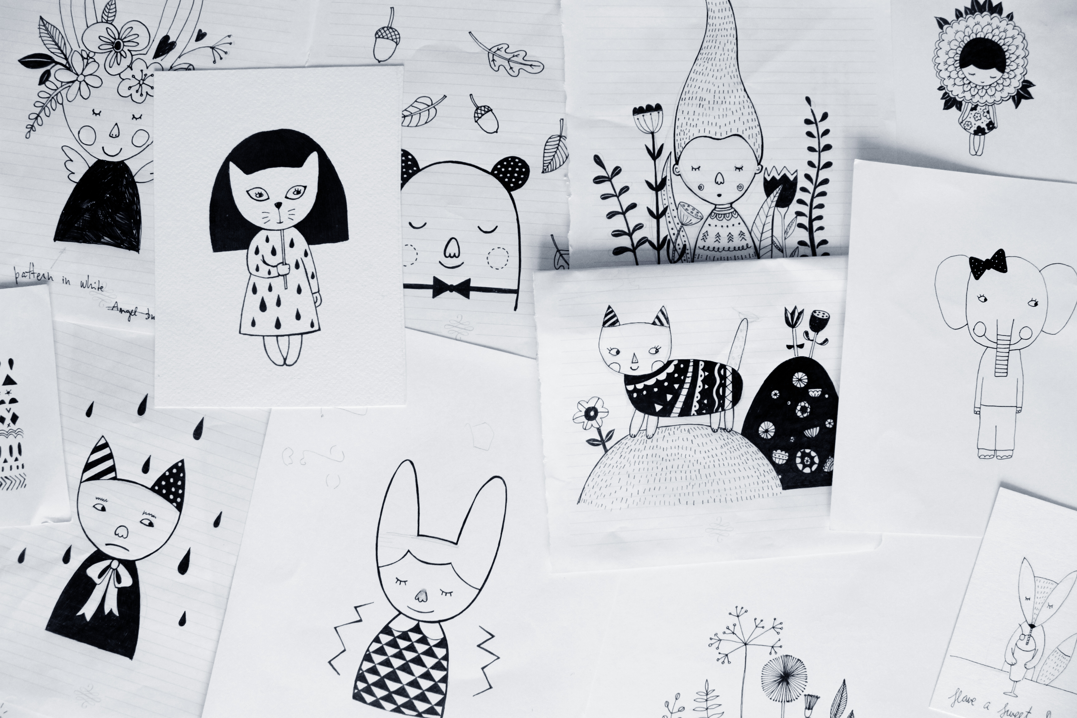 Some of Egle's charming sketches, that she sells online as downloadables and prints