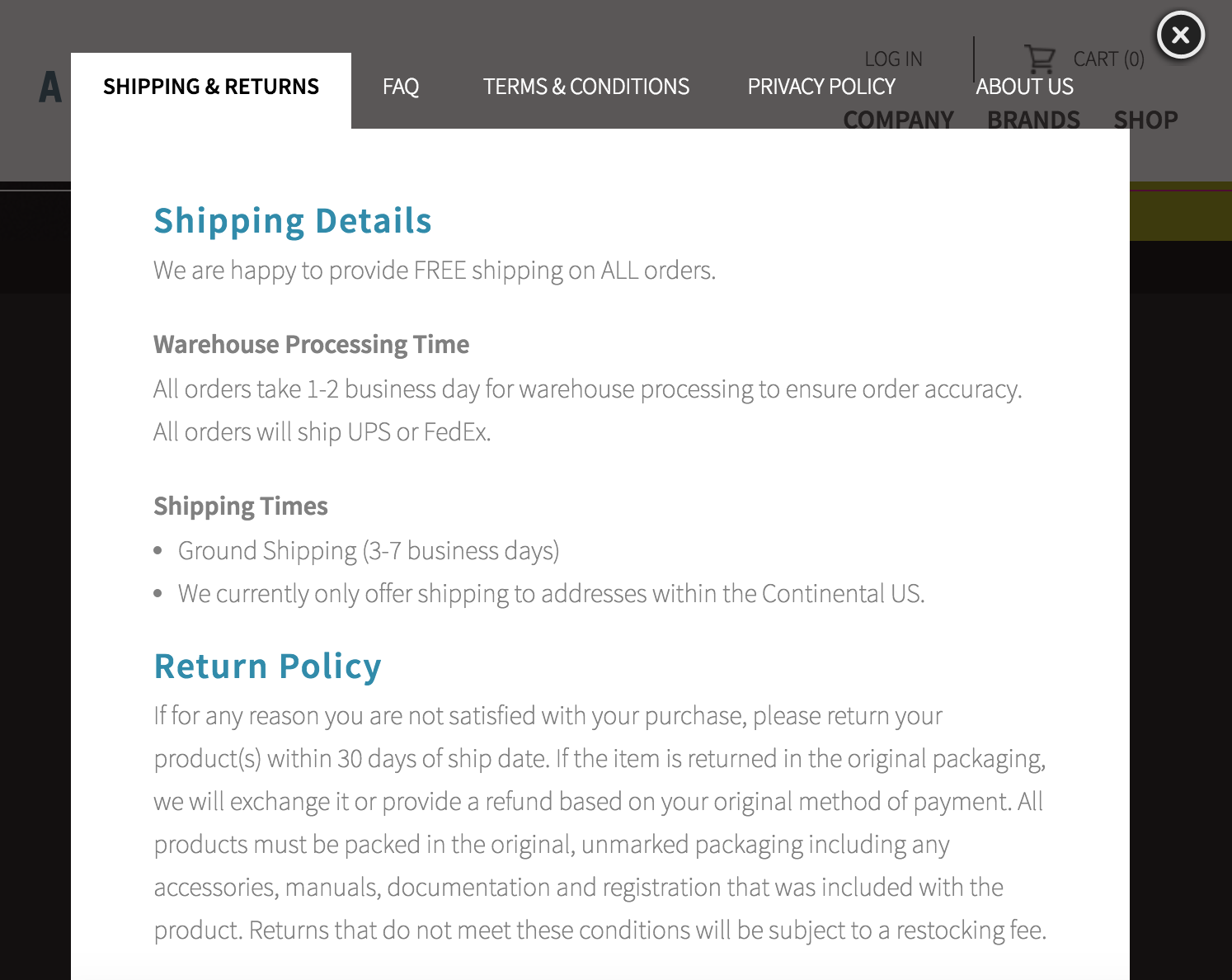 Shipping information is bundled here as well, as you'll note -- we'll get to that in a moment.