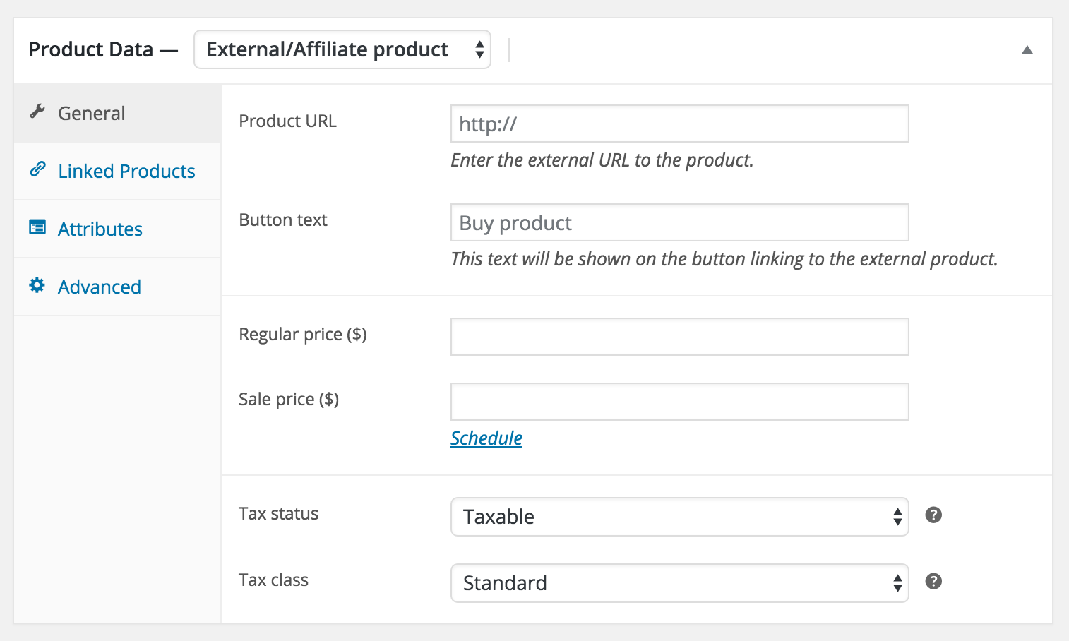 Selling affiliate products? No problem: select the correct product type in WooCommerce and you'll be all set.
