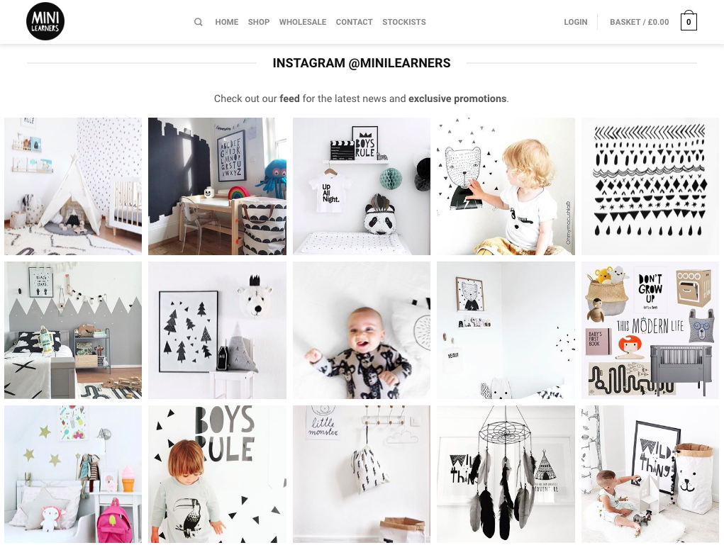 The Instagram feed extension display all of the latest images beautifully, on the hompage of minilearners.com