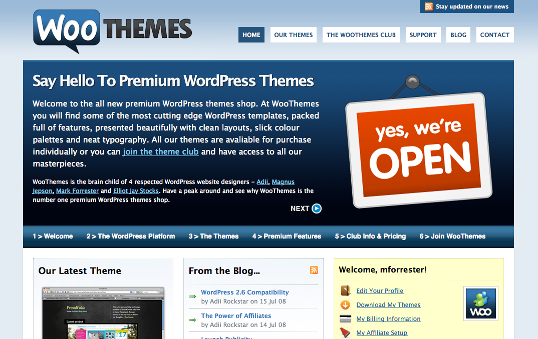The Woo homepage as it appeared in July 2008, flashback!