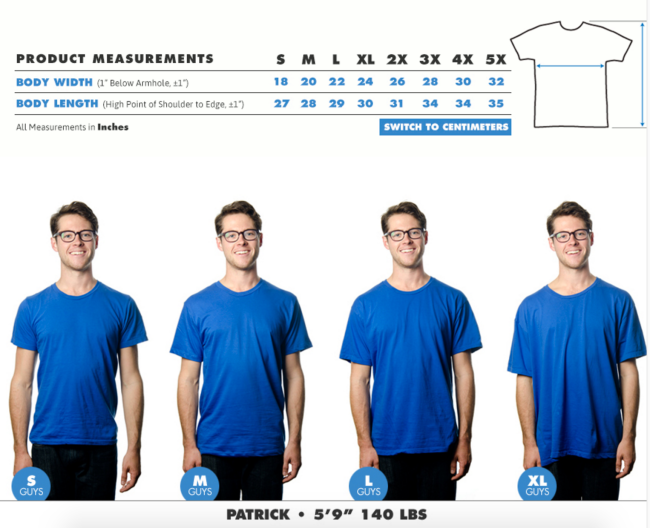 TeePublic's sizing chart is a great example of how to go the extra mile for customers who might be unsure about sizing. (Click or tap to view at full size)