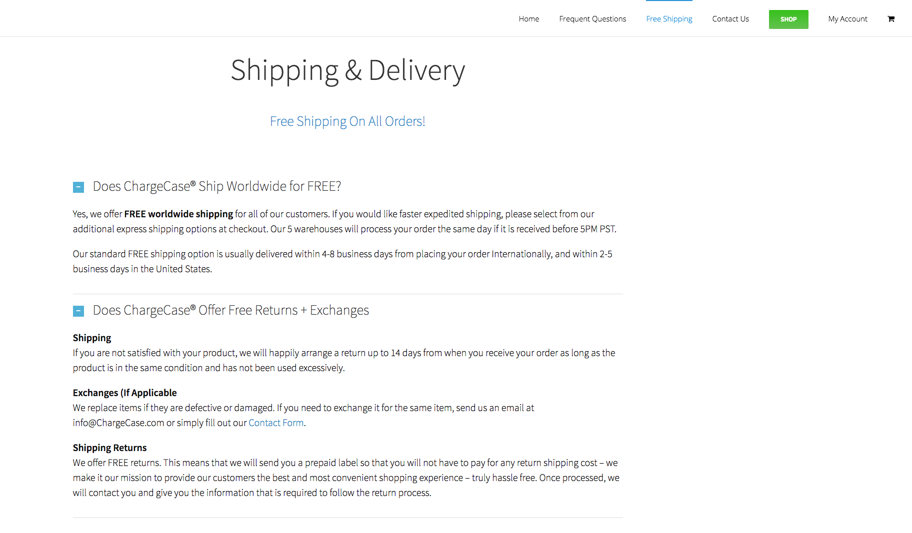"As you might expect, the page starts off by answering the question ""does ChargeCase really offer free shipping?"""
