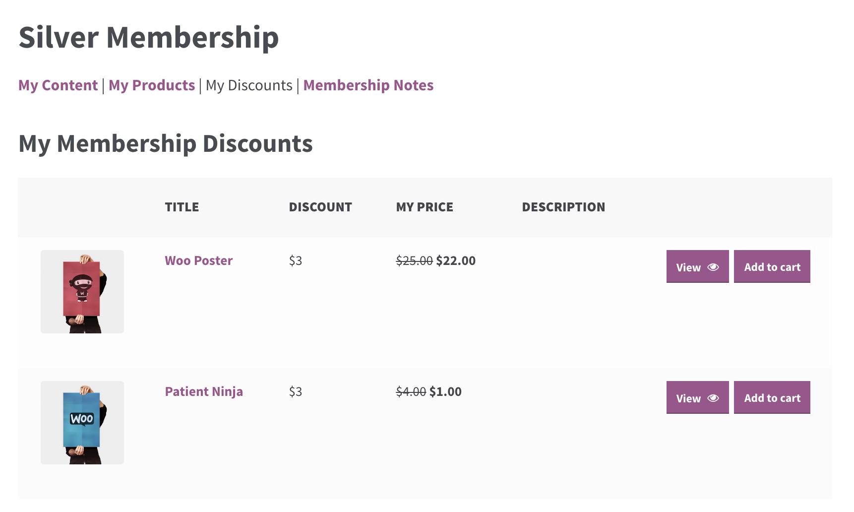 WooCommerce Membership member area my discounts