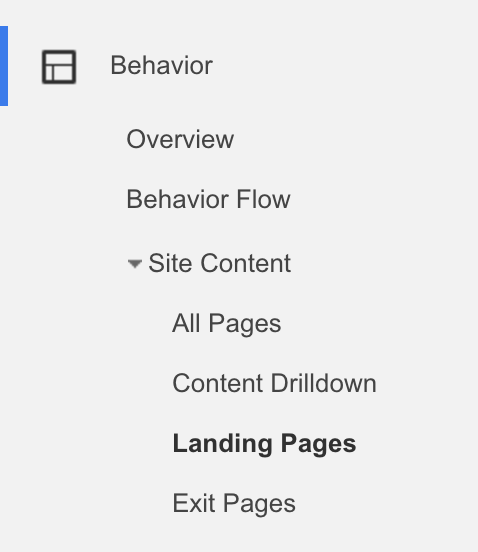 This baked-in report will show you in an instant what landing pages you already have.