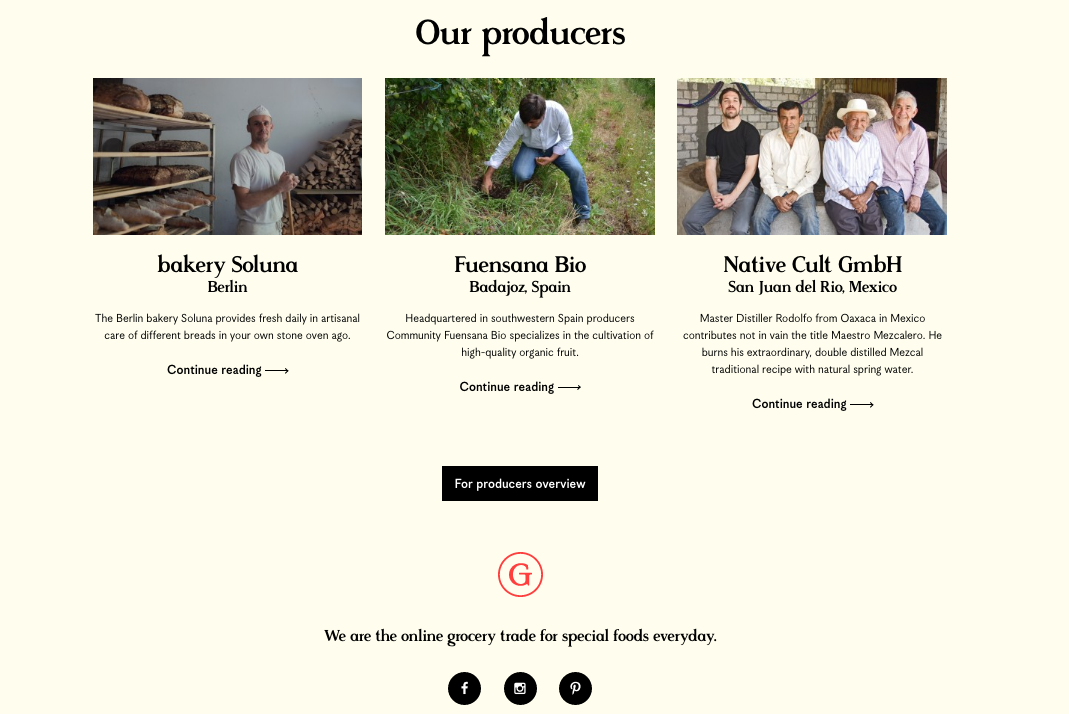 Every producer has a dedicated page, telling their story and taking the customer into the origin of the product