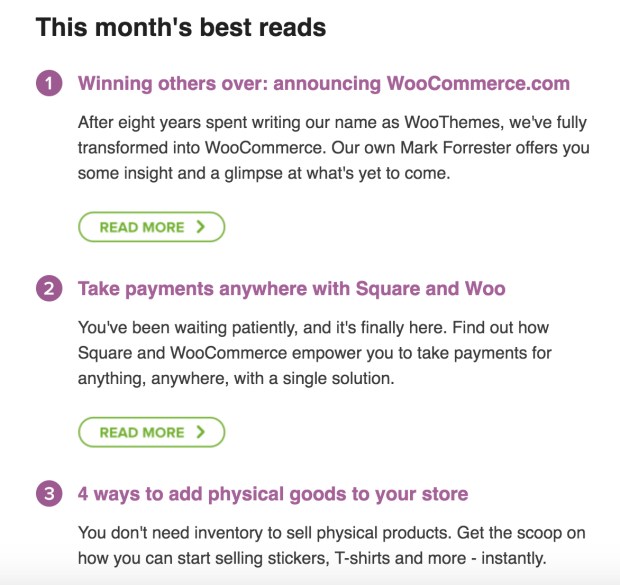 Content for store owners is handpicked and placed into this email. These are just three of the posts that appeared in the July mailer.