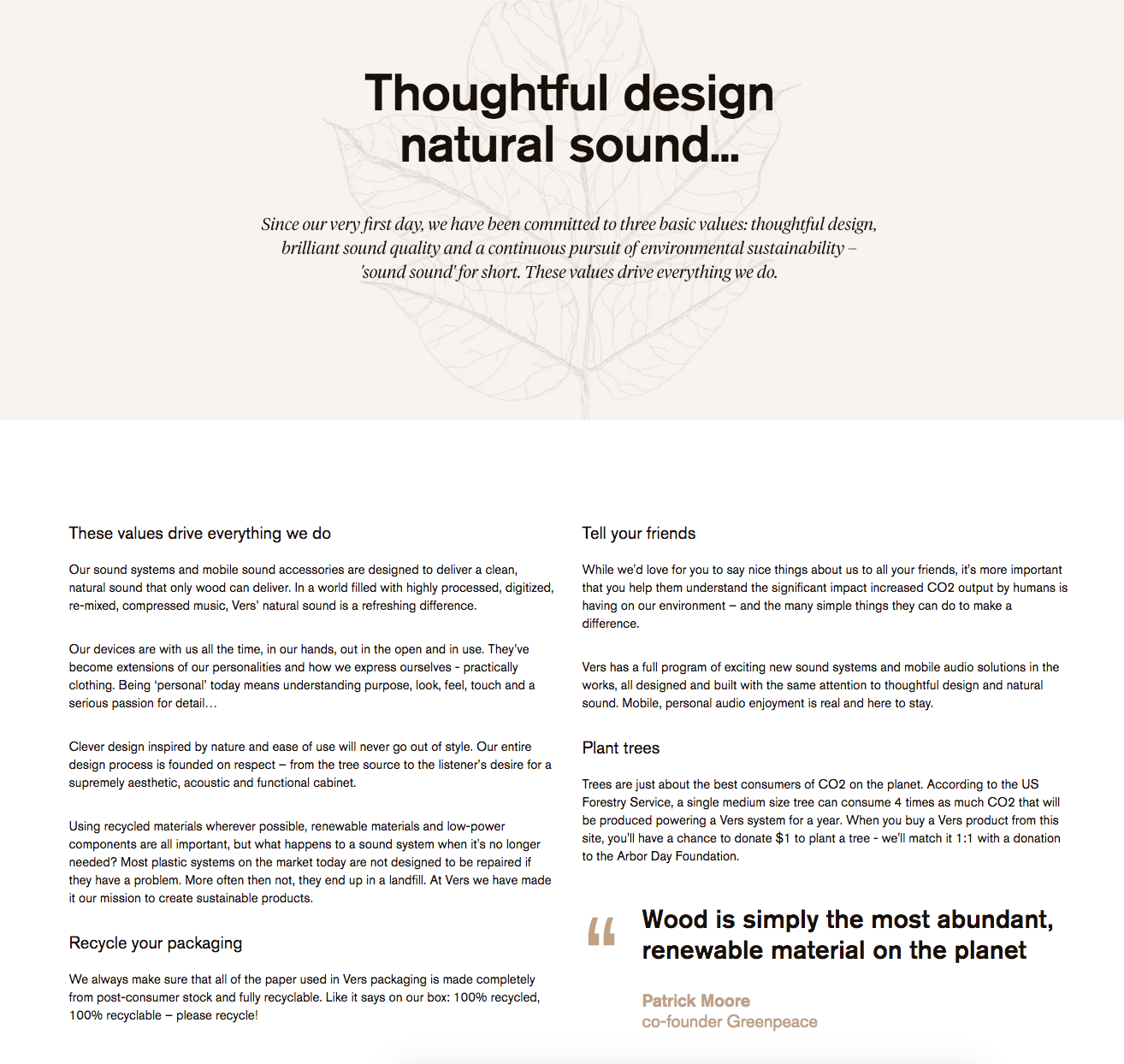 The design of the page even lends itself to the message of sustainability and environmentally-friendly design and company practices, which is a lovely touch.