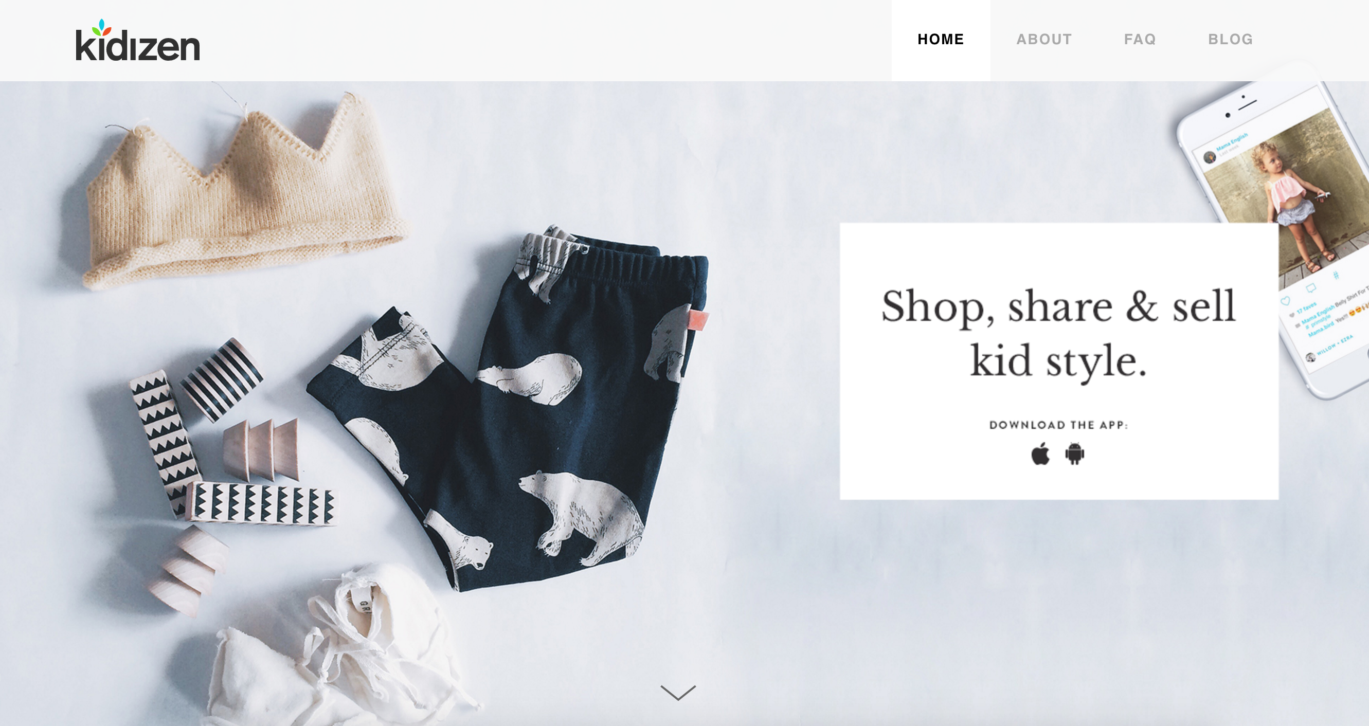 Kidizen encourages parents to recycle clothes their kids have grown out of.