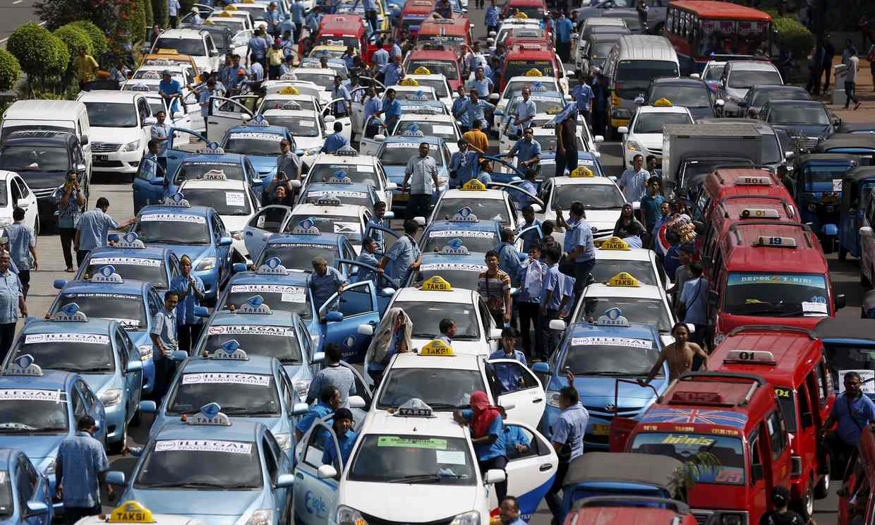 A gridlock in Indonesia in protest of Uber.