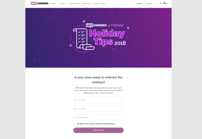 WooCommerce & Friends Holiday Tips landing page