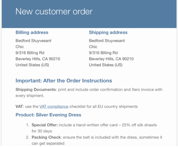 Order notes added to the WooCommerce emails.
