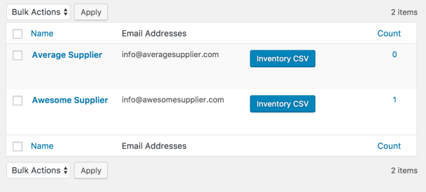 Your suppliers, listed inside your WooCommerce.