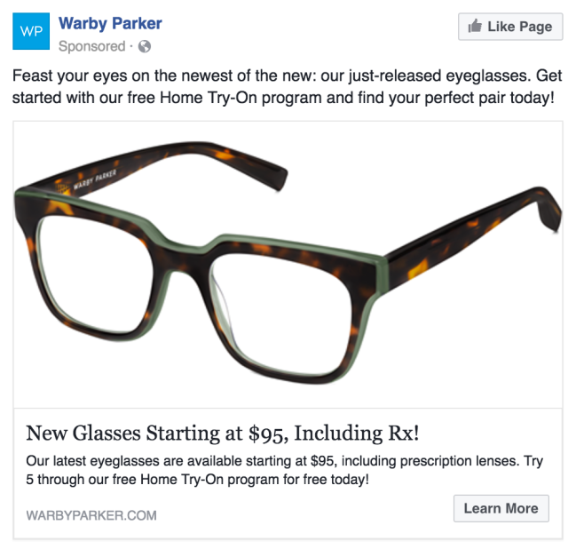 Here's an example of a remarketing ad in my own Facebook timeline. I was shopping for another pair glasses a few weeks ago.